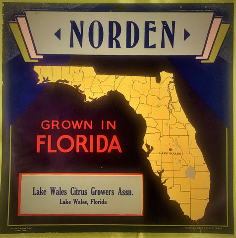 NORDEN citrus crate label