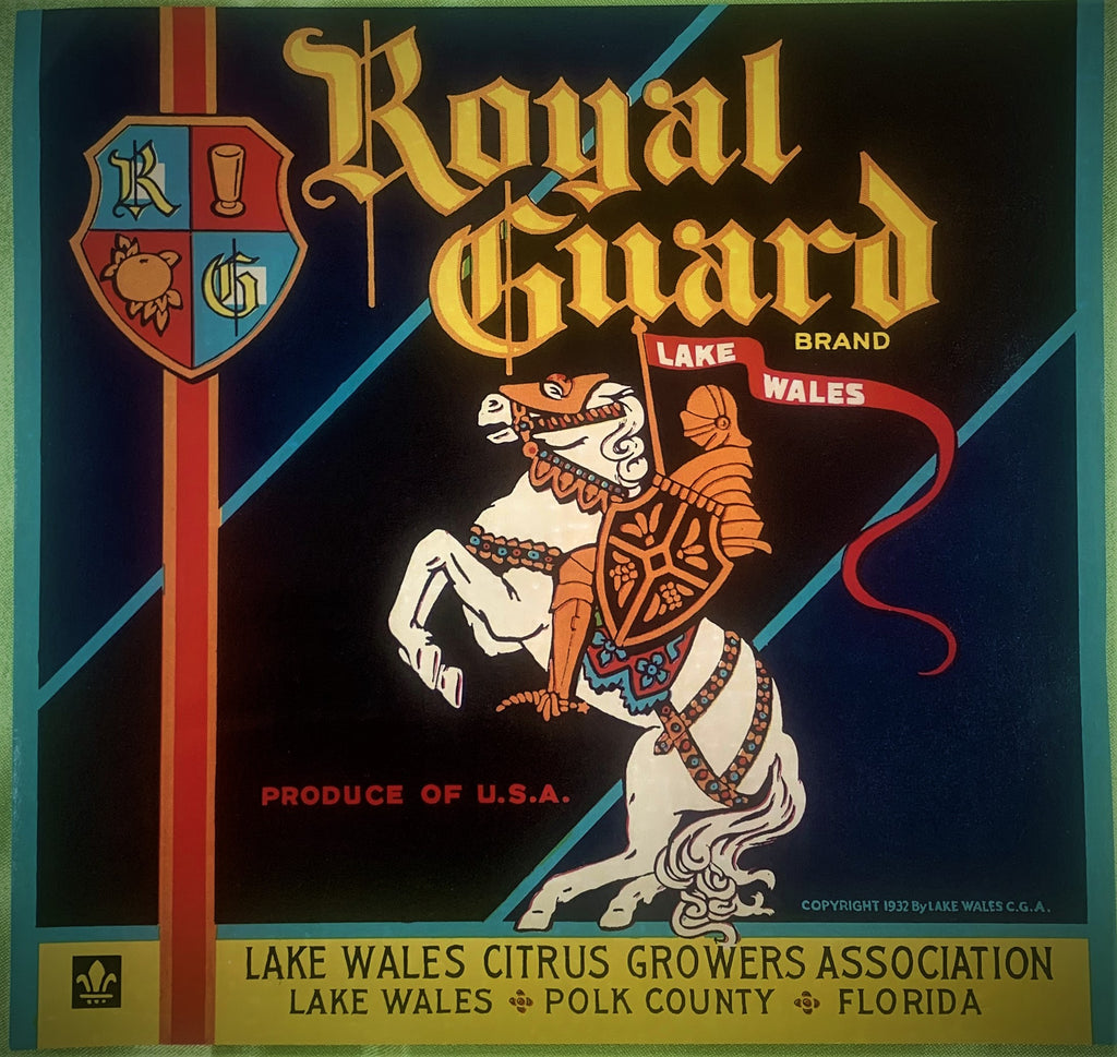 Royal Guard citrus crate label