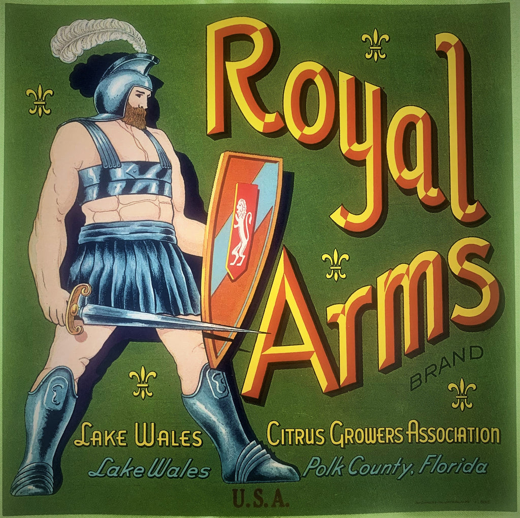 Royal Arms citrus crate label