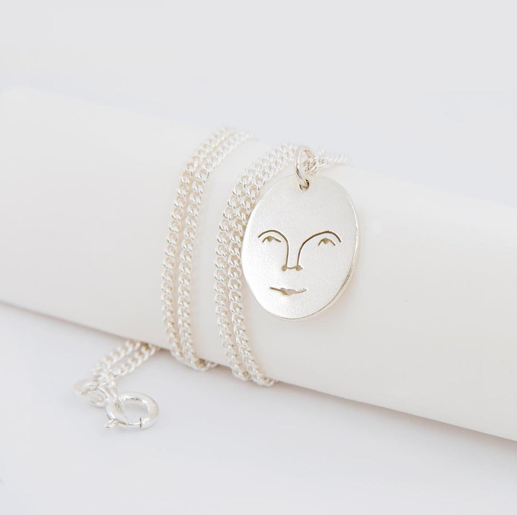 Moon Face Necklace In Silver