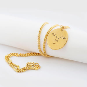 Sun Face Necklace In Gold