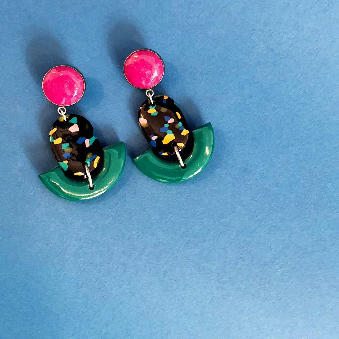 Drop Earrings in Green