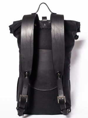 Nomadic People Zuberi Roll Top Rucksack In Midnight On Black