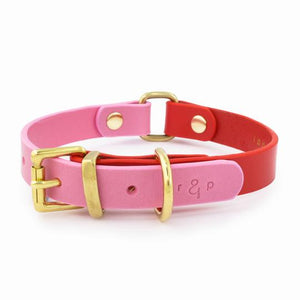 Colour Block Collar - Red & Pink