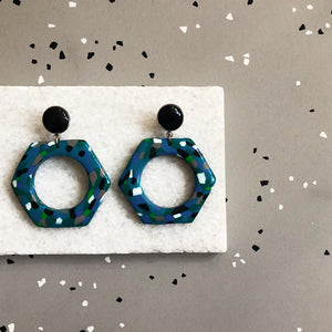 Hexagon Earrings in Blue