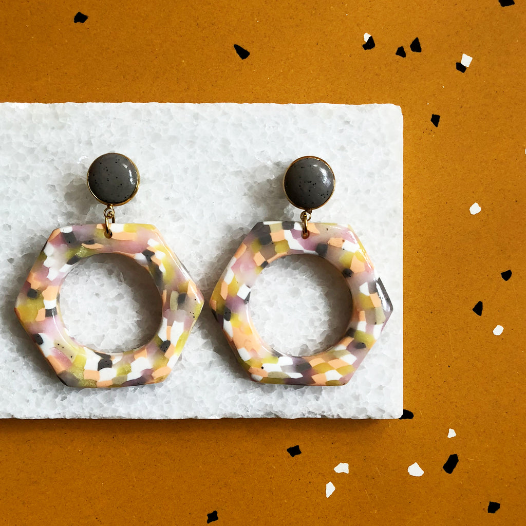 Hexagon Earrings in Cream