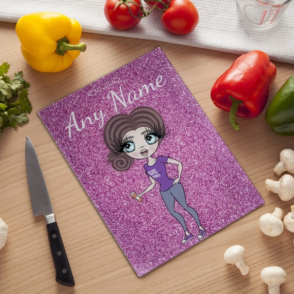 ClaireaBella Glass Chopping Board - Pink Glitter - Image 1