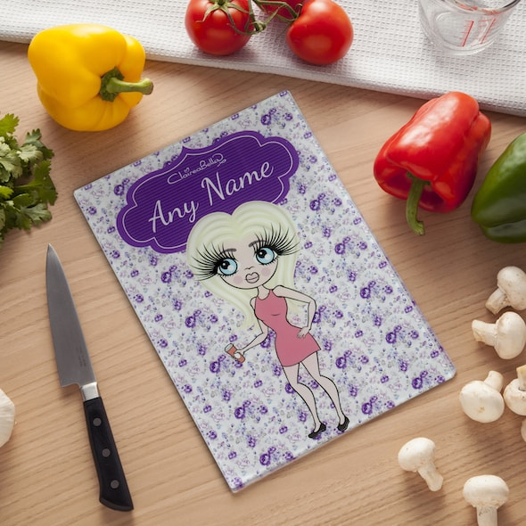ClaireaBella Glass Chopping Board - Violet Rose - Image 1