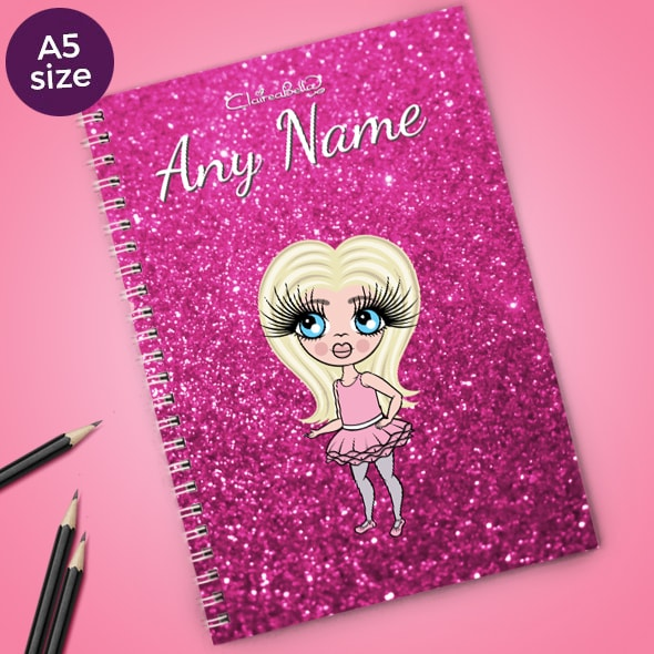 ClaireaBella Girls Glitter Print A5 Softback Notebook - Image 1