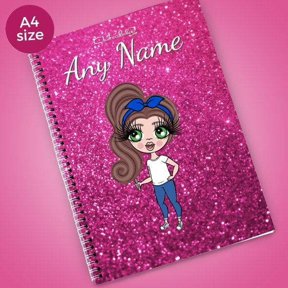 ClaireaBella Girls Glitter Print A4 Softback Notebook - Image 1