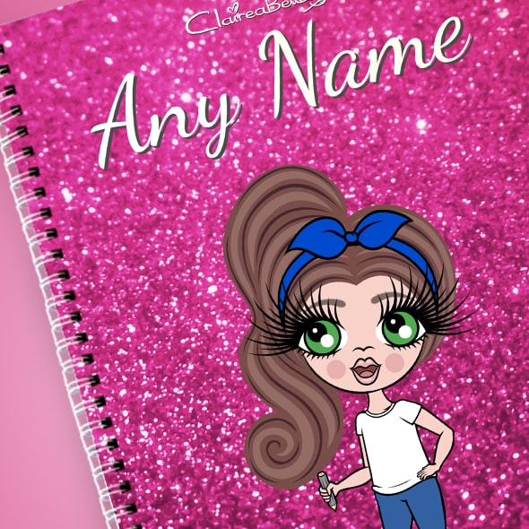 ClaireaBella Girls Glitter Print A4 Softback Notebook - Image 2