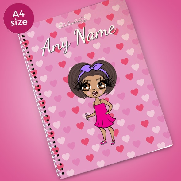 ClaireaBella Girls Heart Print A4 Softback Notebook - Image 1