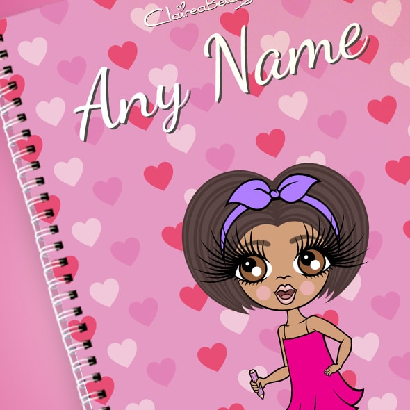 ClaireaBella Girls Heart Print A4 Softback Notebook - Image 2