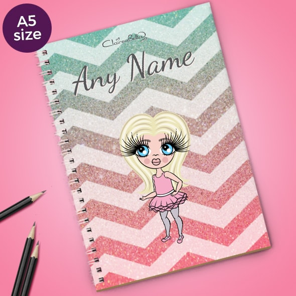 ClaireaBella Girls Zig Zag Sparkle A5 Softback Notebook - Image 1