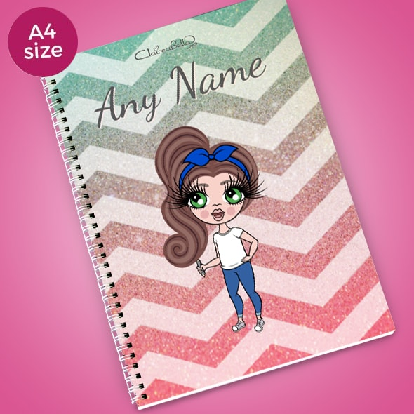 ClaireaBella Girls Zig Zag Sparkle A4 Softback Notebook - Image 1