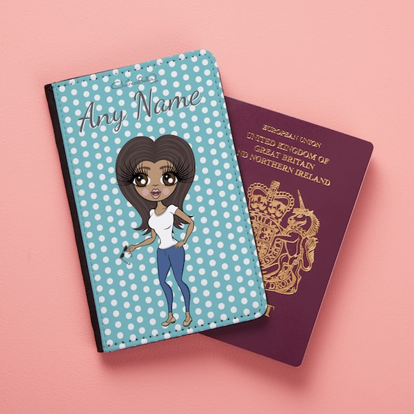 ClaireaBella Blue Polka Dot Passport Cover - Image 1