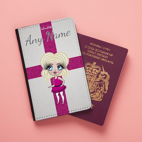 ClaireaBella Girls Pretty England Flag Passport Cover - Image 1