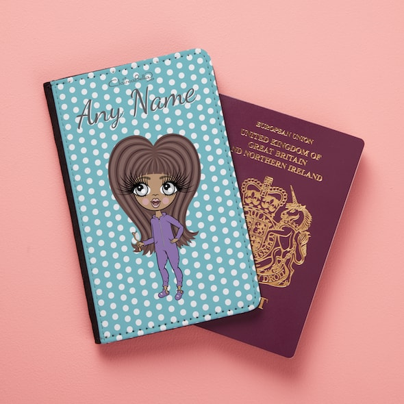 ClaireaBella Girls Blue Polka Dot Passport Cover - Image 1