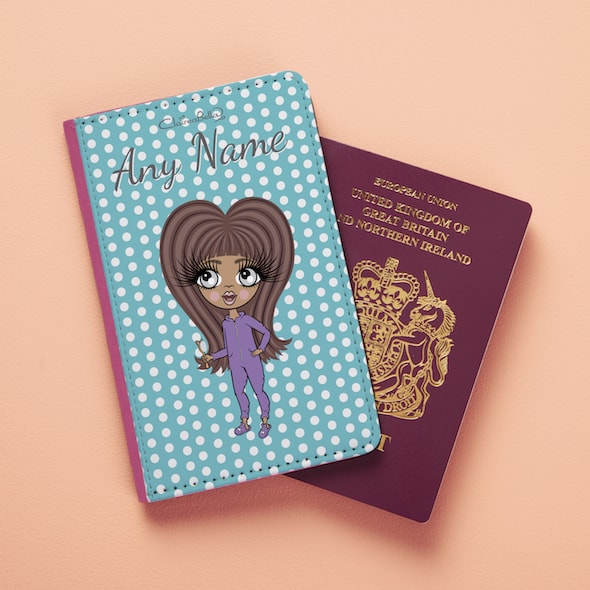 ClaireaBella Girls Blue Polka Dot Passport Cover - Image 3