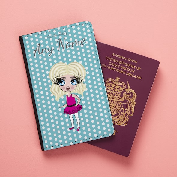 ClaireaBella Girls Blue Polka Dot Passport Cover - Image 2