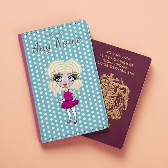 ClaireaBella Girls Blue Polka Dot Passport Cover - Image 4