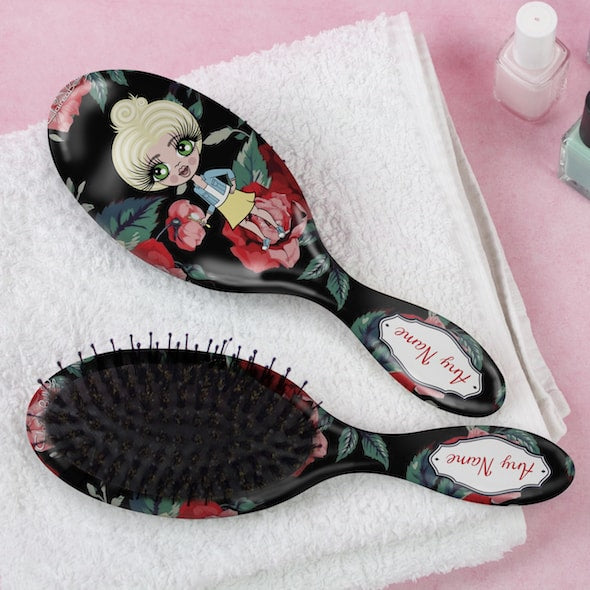ClaireaBella Girls Black Floral Hair Brush - Image 1