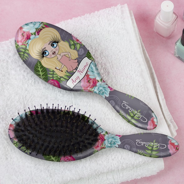 ClaireaBella Girls Grey Floral Hair Brush - Image 1