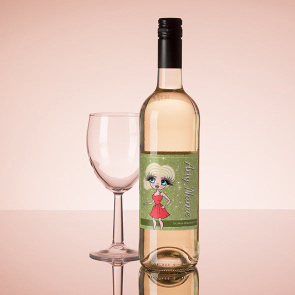 ClaireaBella Personalised White Wine - Glitter Effect - Image 1