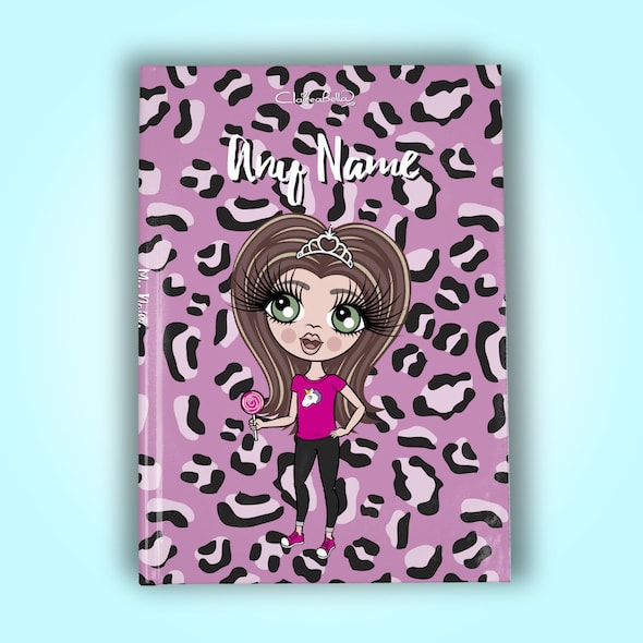 ClaireaBella Girls A5 Hardback Diary - Lilac Leopard - Image 1