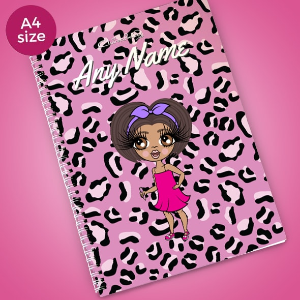 ClaireaBella Girls Lilac Leopard A4 Softback Notebook - Image 1