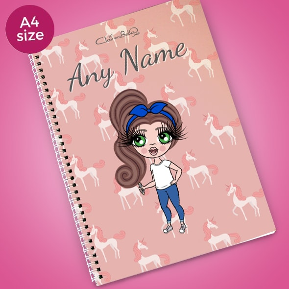 ClaireaBella Girls Unicorn A4 Softback Notebook - Image 1