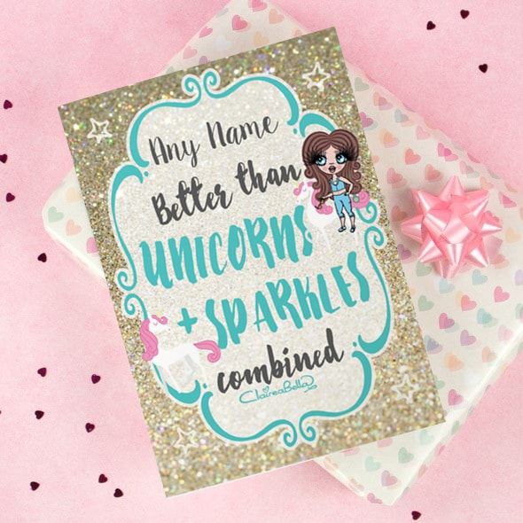 ClaireaBella Girls Greeting Card - Unicorn and Sparkle - Image 1