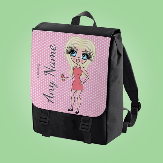 ClaireaBella Pink Polka Dot Large Backpack - Image 1