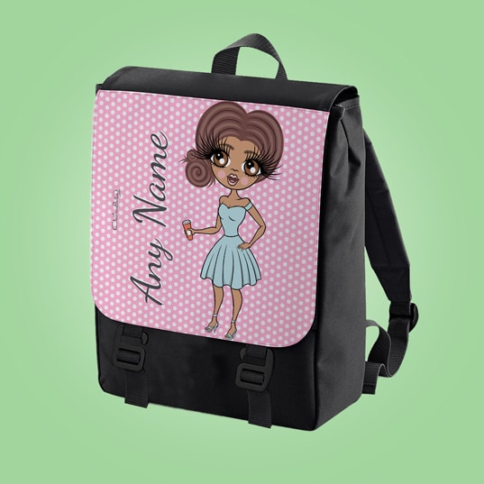 ClaireaBella Pink Polka Dot Large Backpack - Image 3
