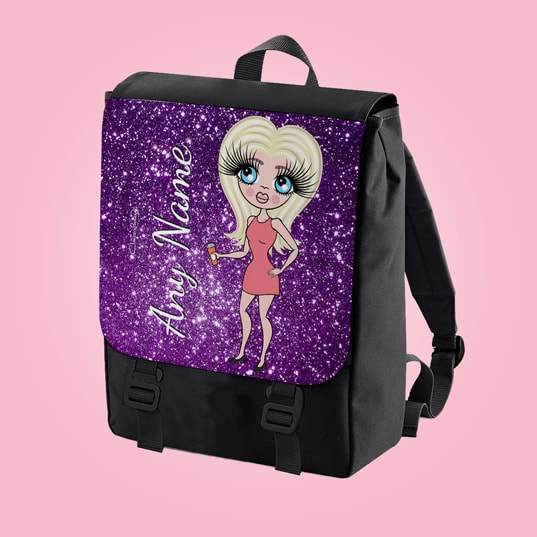 ClaireaBella Glitter Effect Print Large Backpack - Image 7