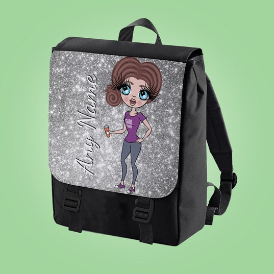 ClaireaBella Glitter Effect Print Large Backpack - Image 5