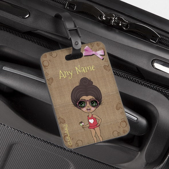 ClaireaBella Girls Jute Print Luggage Tag - Image 1