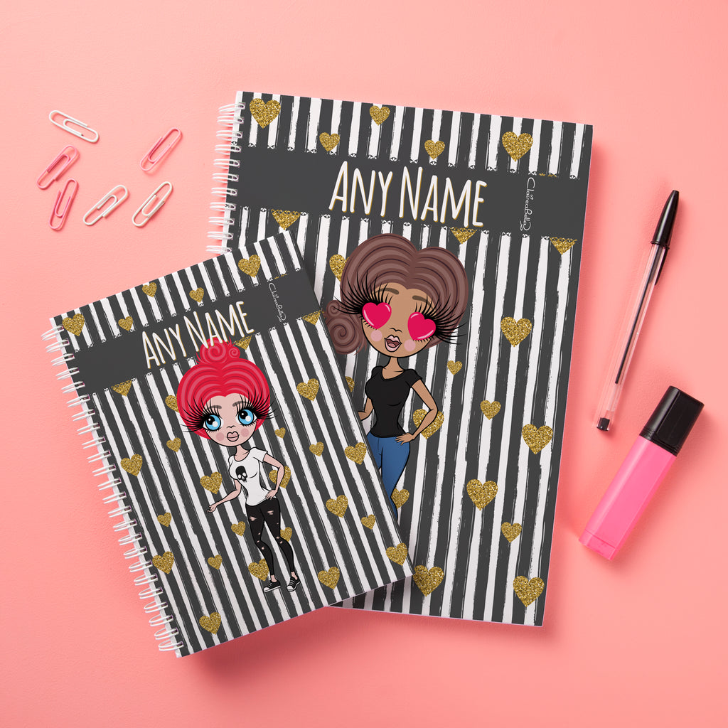 ClaireaBella Hardback Notebook - Heart Striped - Image 3