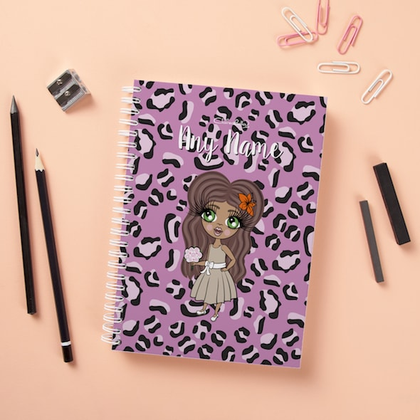 ClaireaBella Girls Hardback Notebook - Lilac Leopard - Image 1