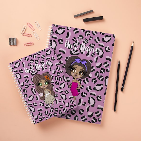 ClaireaBella Girls Hardback Notebook - Lilac Leopard - Image 2