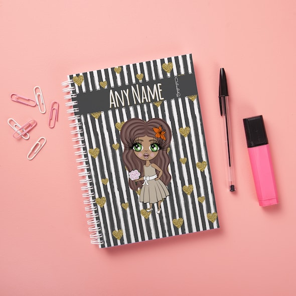 ClaireaBella Girls Hardback Notebook - Heart Striped - Image 1