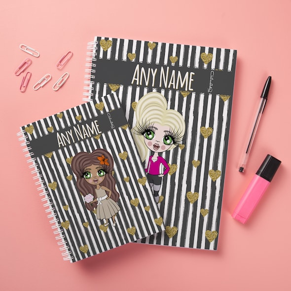 ClaireaBella Girls Hardback Notebook - Heart Striped - Image 2