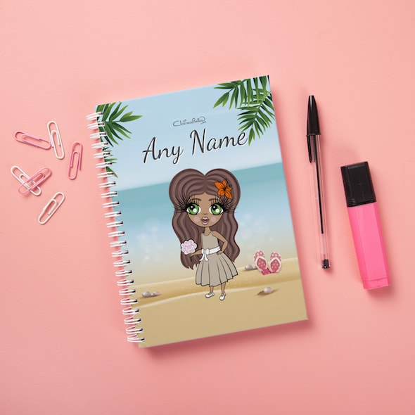 ClaireaBella Girls Hardback Notebook - Beach Print - Image 1