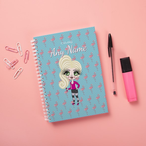 ClaireaBella Girls Hardback Notebook - Flamingo Print - Image 1