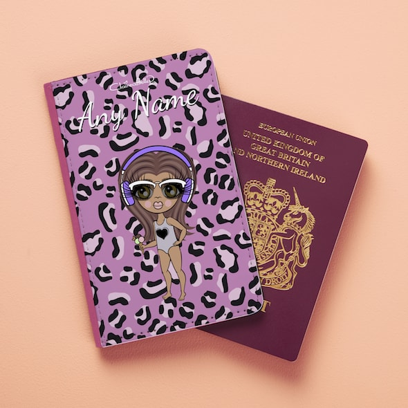 ClaireaBella Girls Lilac Leopard Passport Cover - Image 1