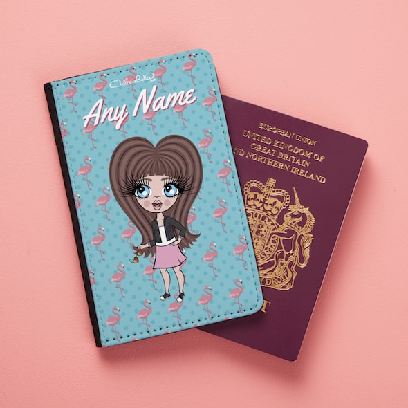 ClaireaBella Girls Flamingo Print Passport Cover - Image 1