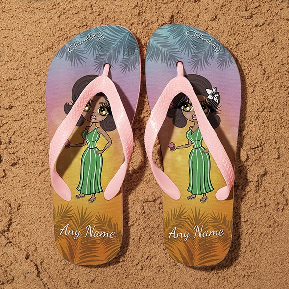ClaireaBella Tropical Sunset Flip Flops - Image 1