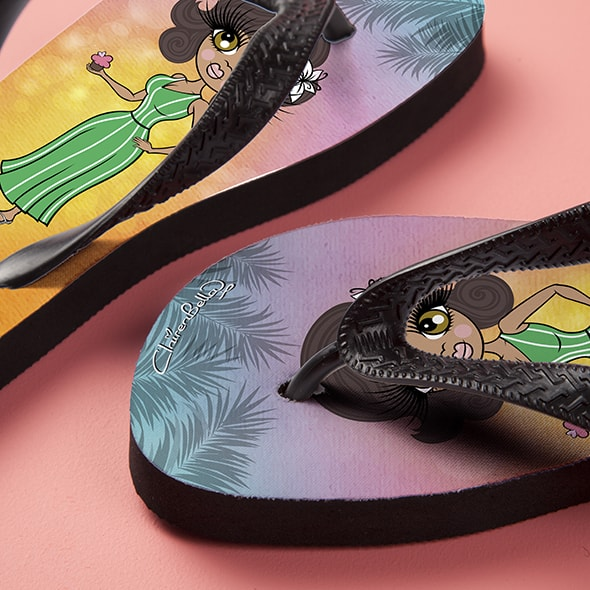 ClaireaBella Tropical Sunset Flip Flops - Image 4