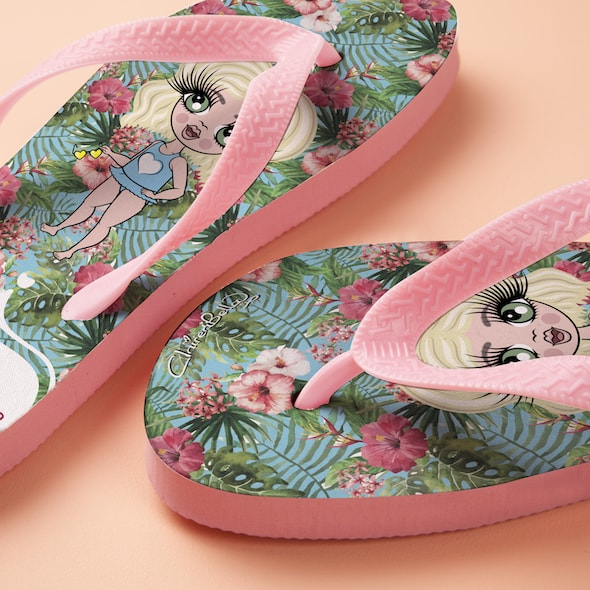 ClaireaBella Girls Hula Print Flip Flops - Image 2