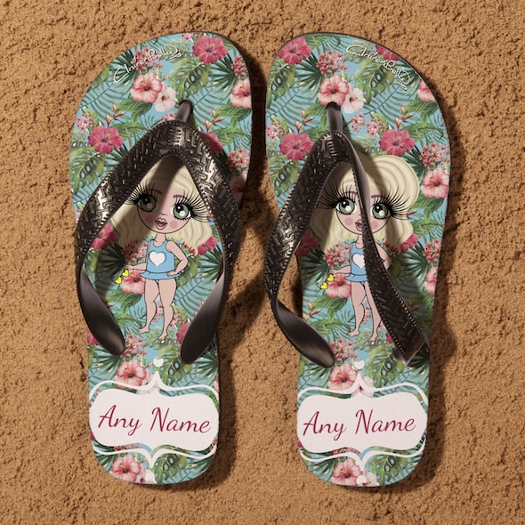 ClaireaBella Girls Hula Print Flip Flops - Image 4
